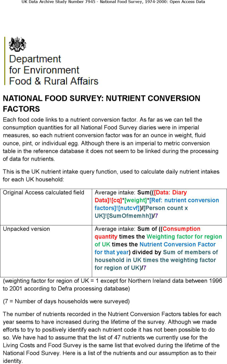 National Food Survey Template