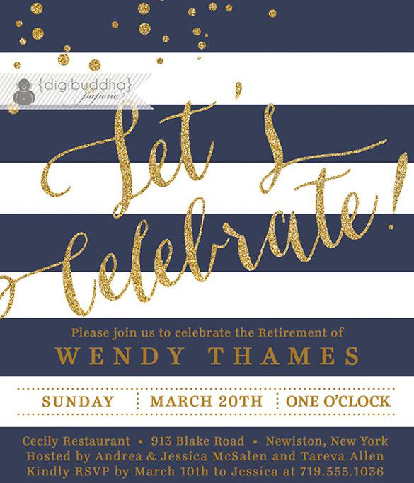 Navy Blue & Gold Retirement Party Invitation