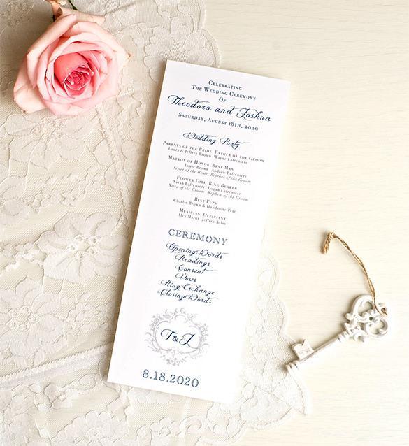 Navy Wedding Ceremony Programs Classis Love Download