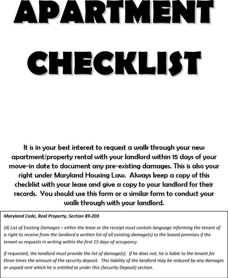 New Apartment Checklist 2