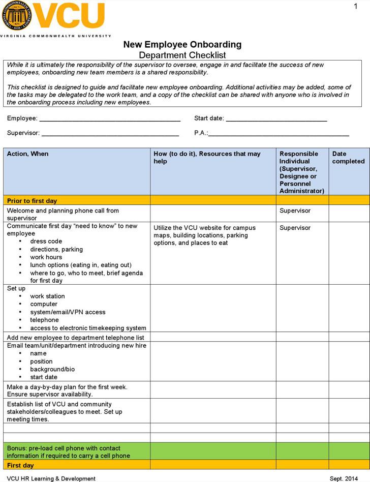 New Employee Checklist Template