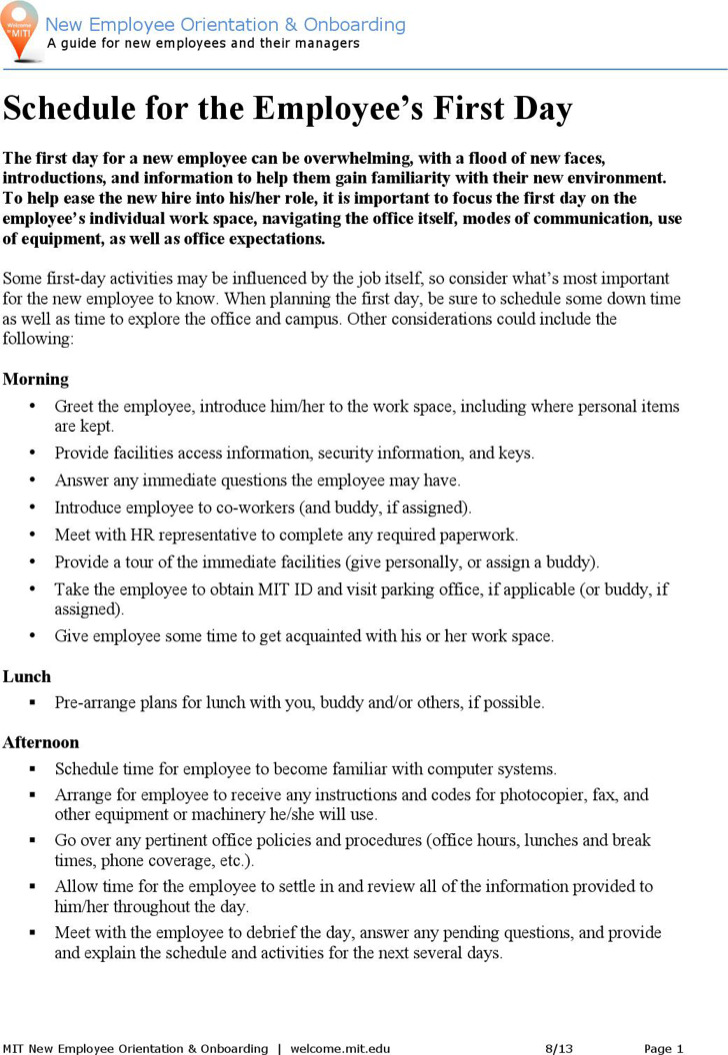 New Employee Orientation Schedule Template Word Doc