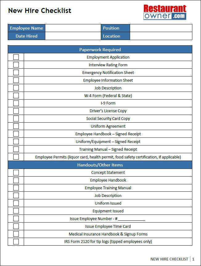 New Hire Checklist Excel Format Template Download