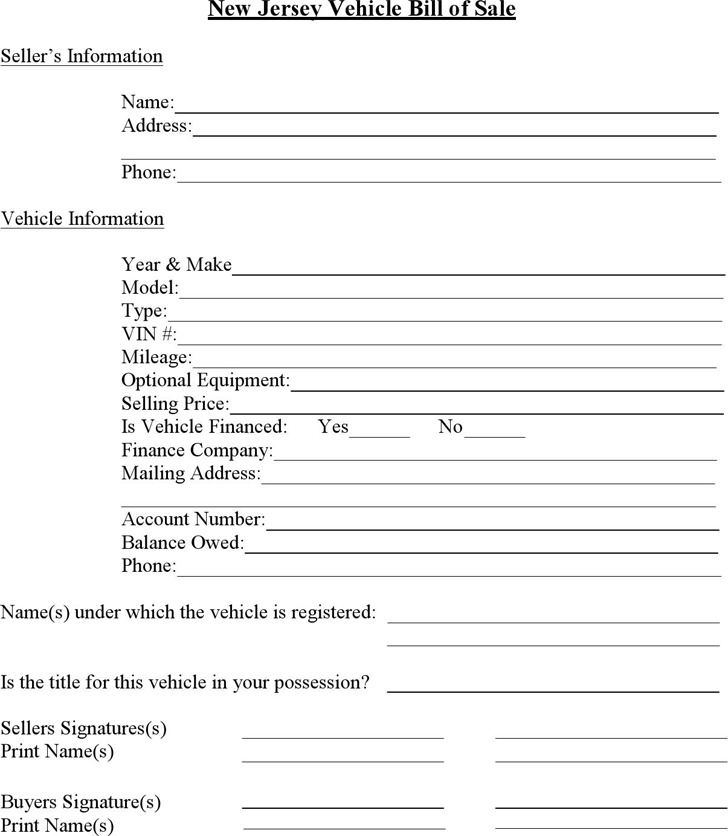 3+ New Jersey Bill Of Sale Form Free Download
