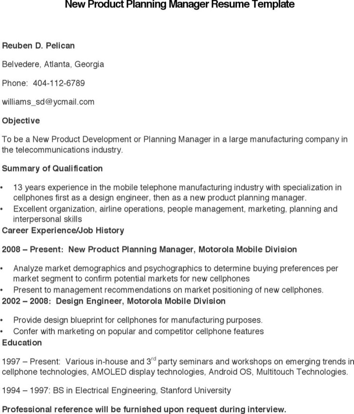 New Product Planning Manager Resume Template