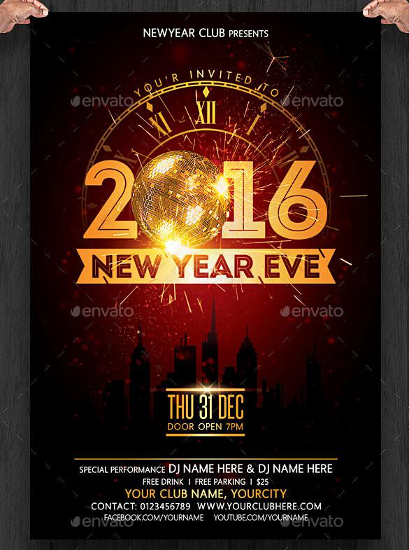 New Year Eve Flyer Invitation Template PSD Download
