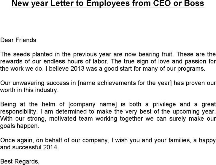 New year Letter to Employees from CEO or Boss