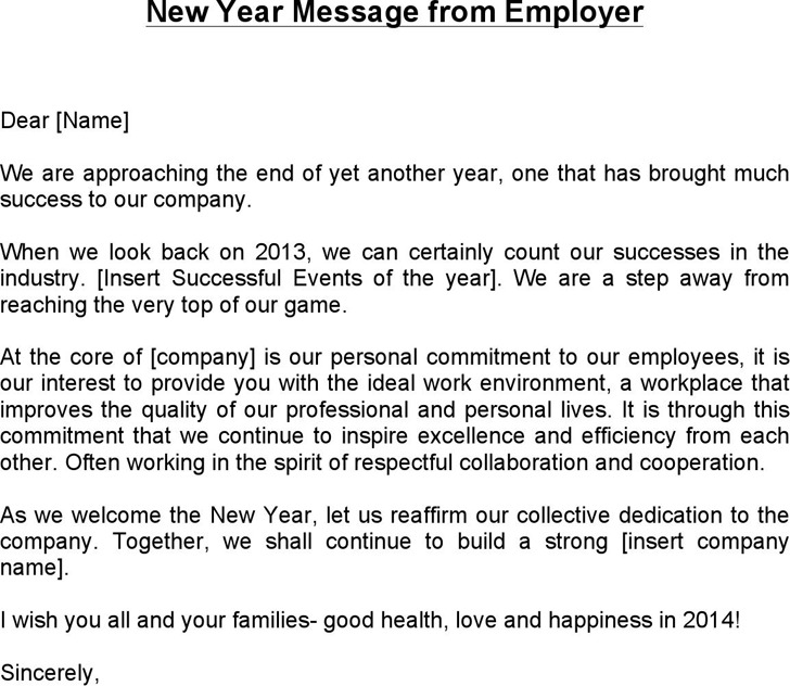 New Year Message from Employer