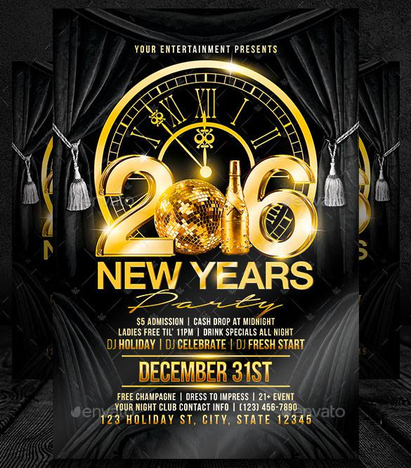 New Years Party Flyer Template PSD Design Download