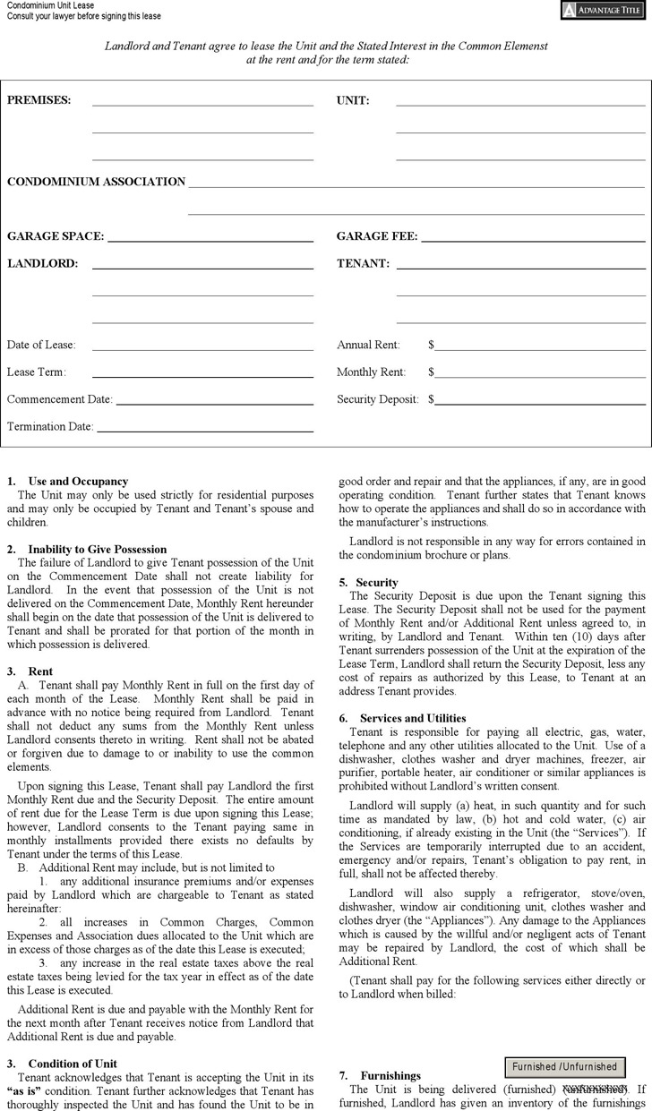 New York Condominium Unit Lease Agreement Form Download Free