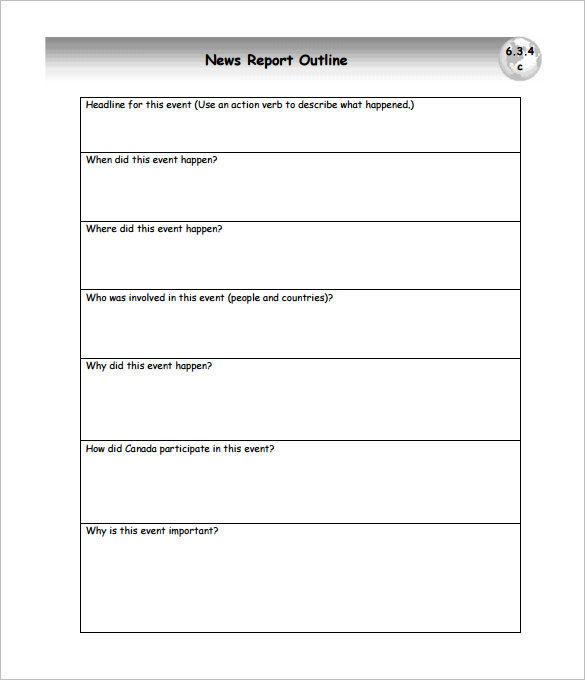 News Report Outline Template Sample