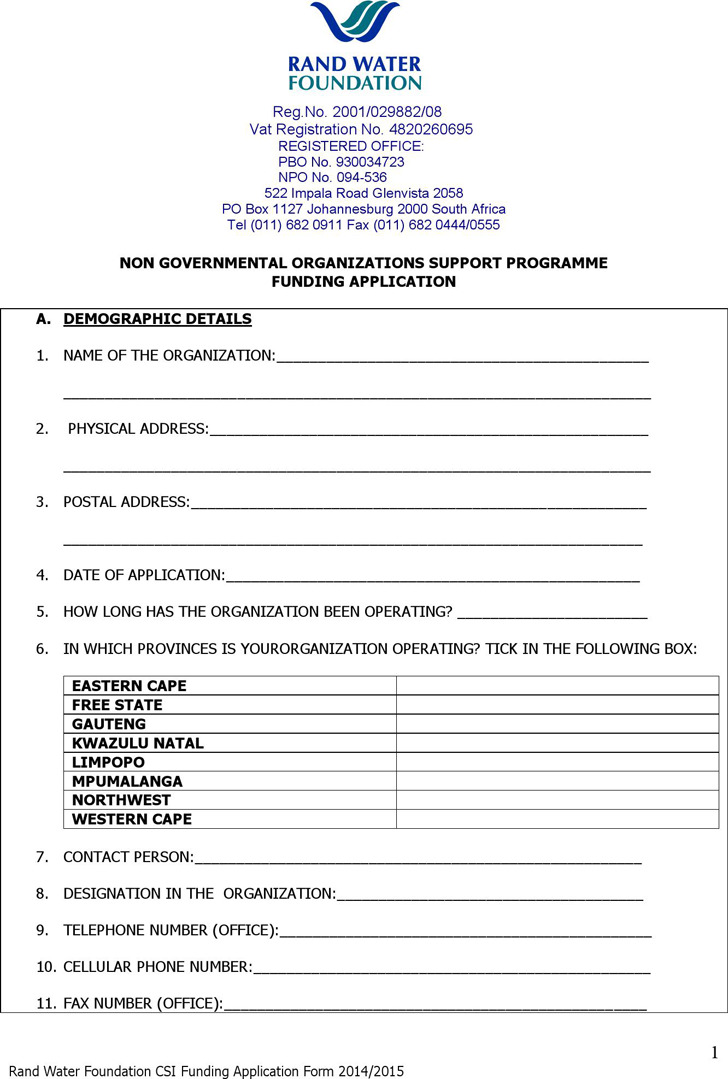 Ngo Support Programme Funding Application