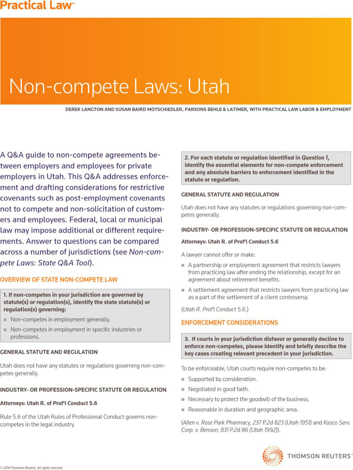 Non Compete Agreement Laws