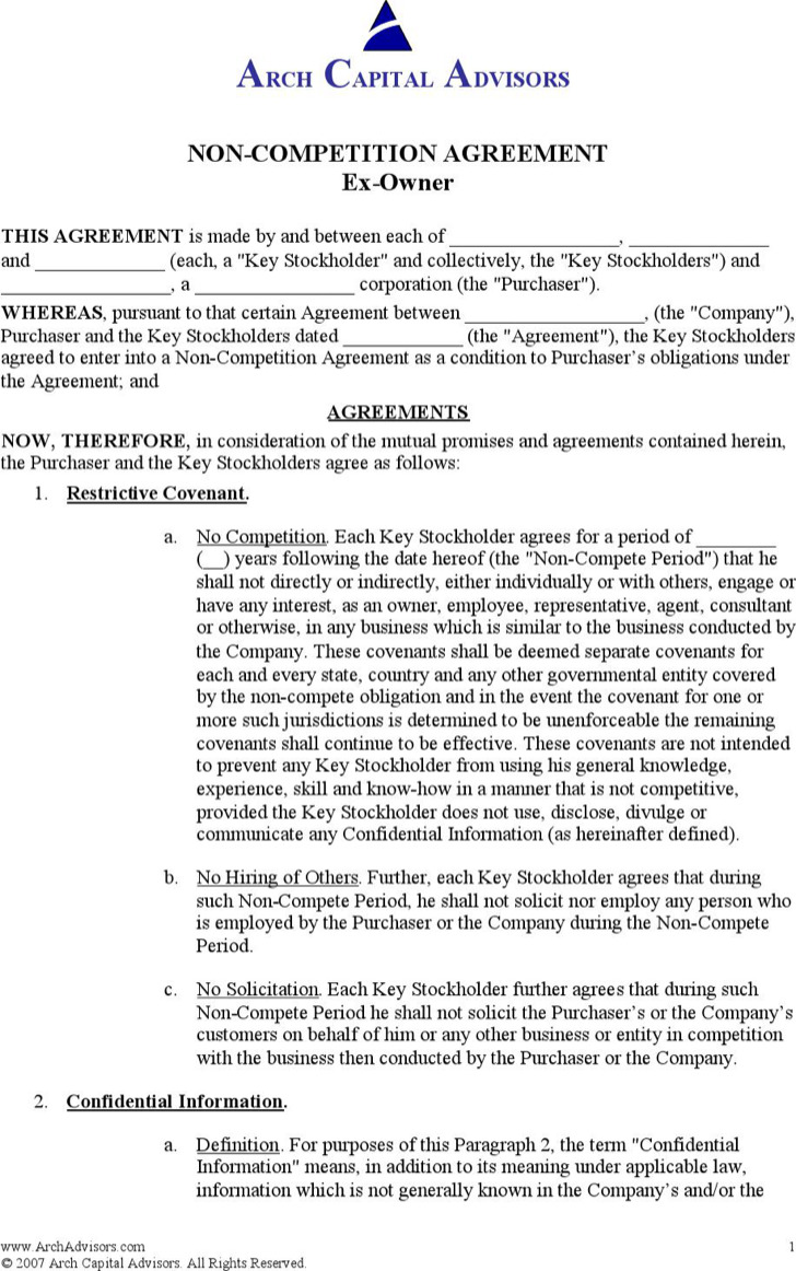 Non Compete Agreement Of Ex Owner