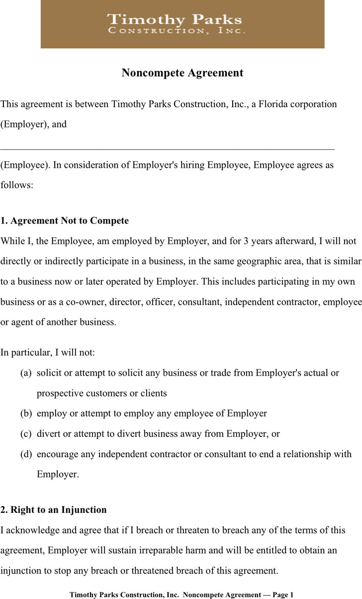Download Non Compete Agreement Sample For Free Tidytemplates