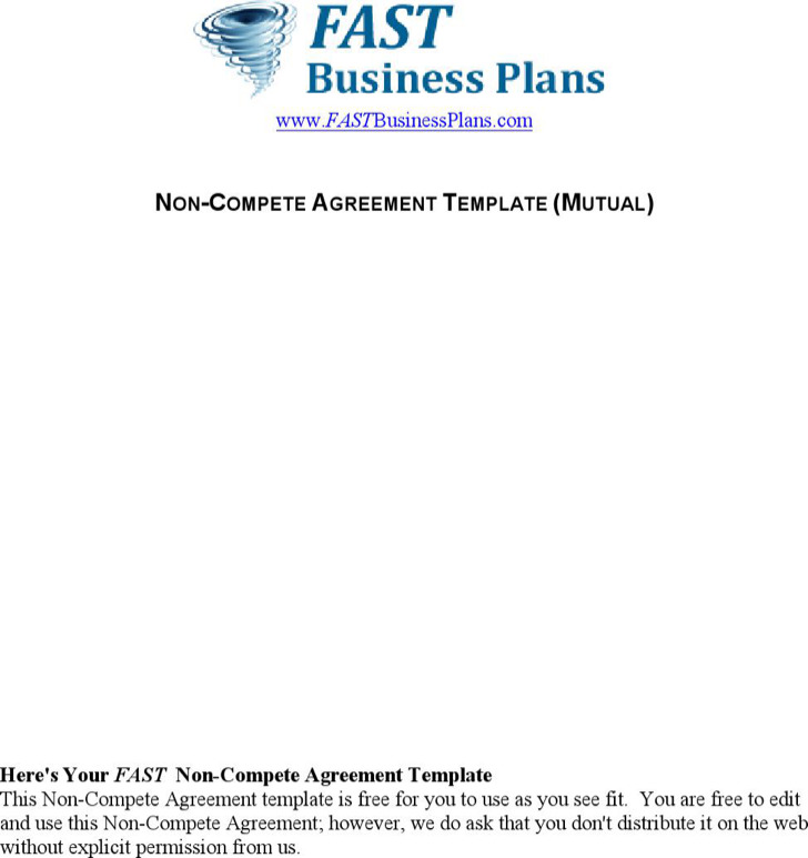 Non Compete Agreement Template 1