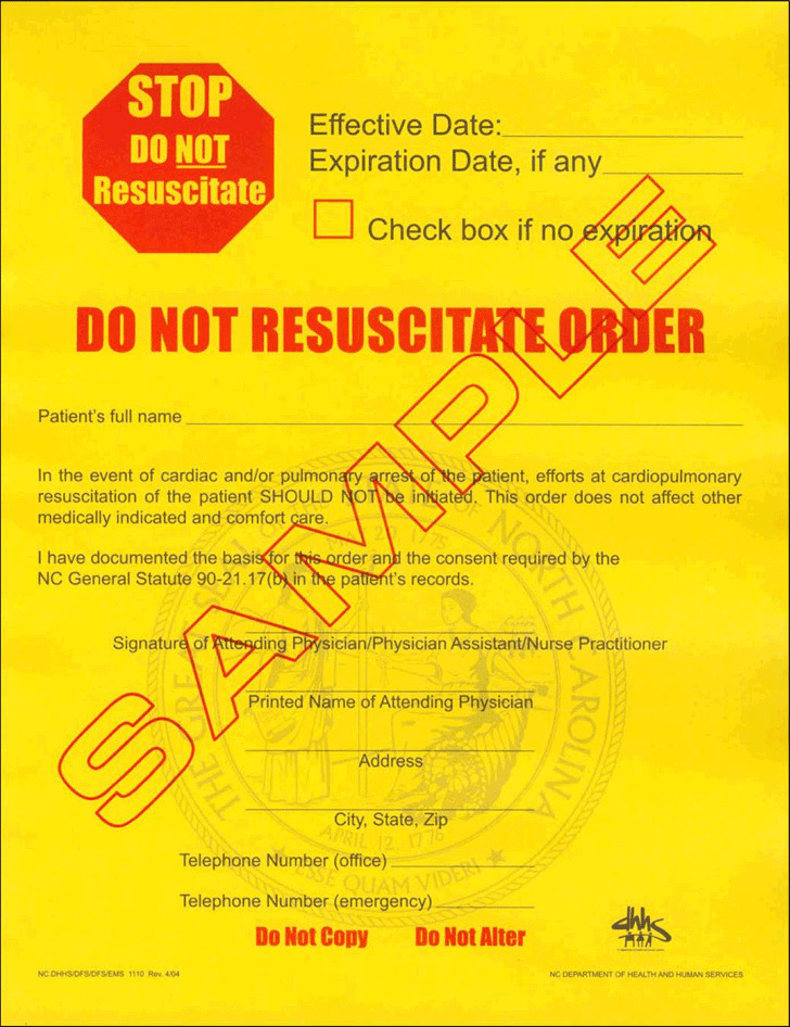 Download North Carolina Do Not Resuscitate Form for Free - TidyTemplates