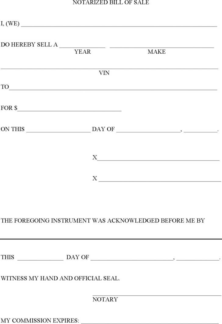 Notarized Bill of Sale