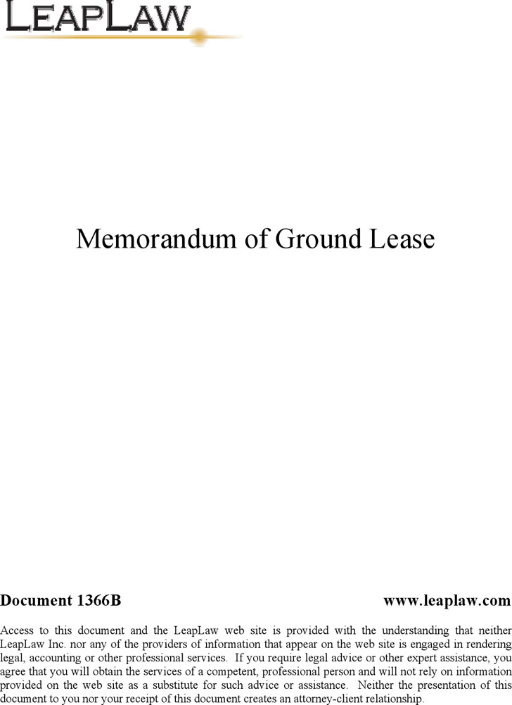 Notice of Ground Lease