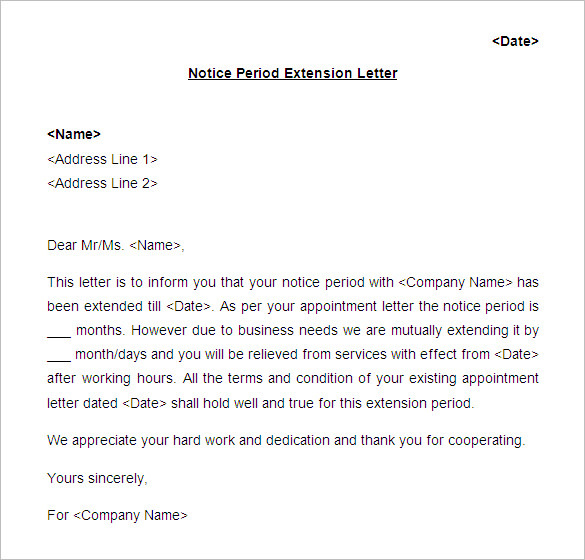 Notice Period Extension Letter Format