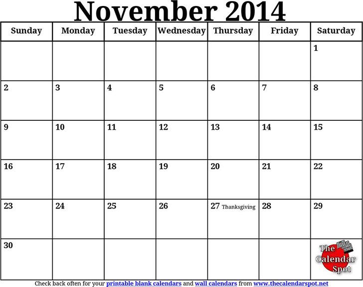 November 2014 Calendar 1