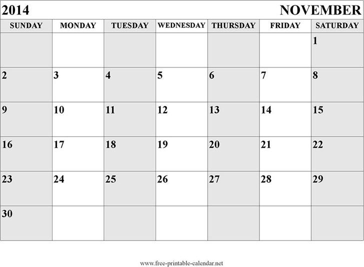 November 2014 Calendar 2