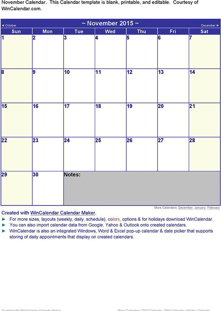 November 2015 Calendar 3