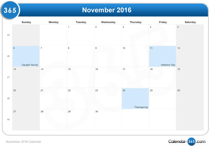 November 2016 Calendar 2