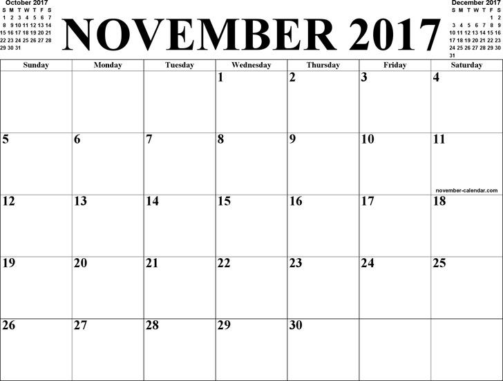 November 2017 Calendar 3
