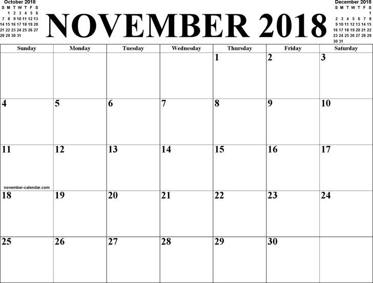 November 2018 Calendar 1