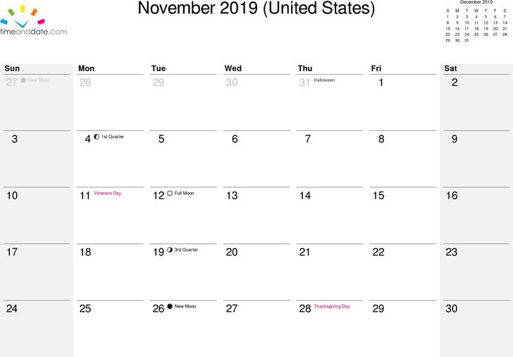 November 2019 Calendar 2
