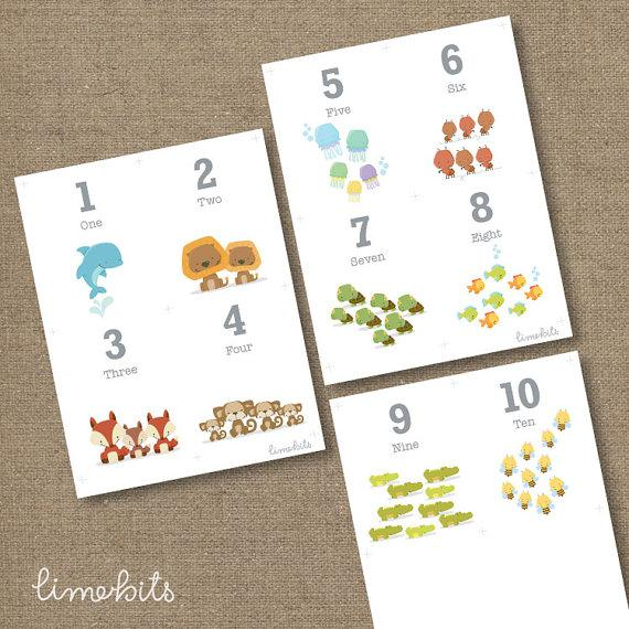 Number Animal Flash Card - $6