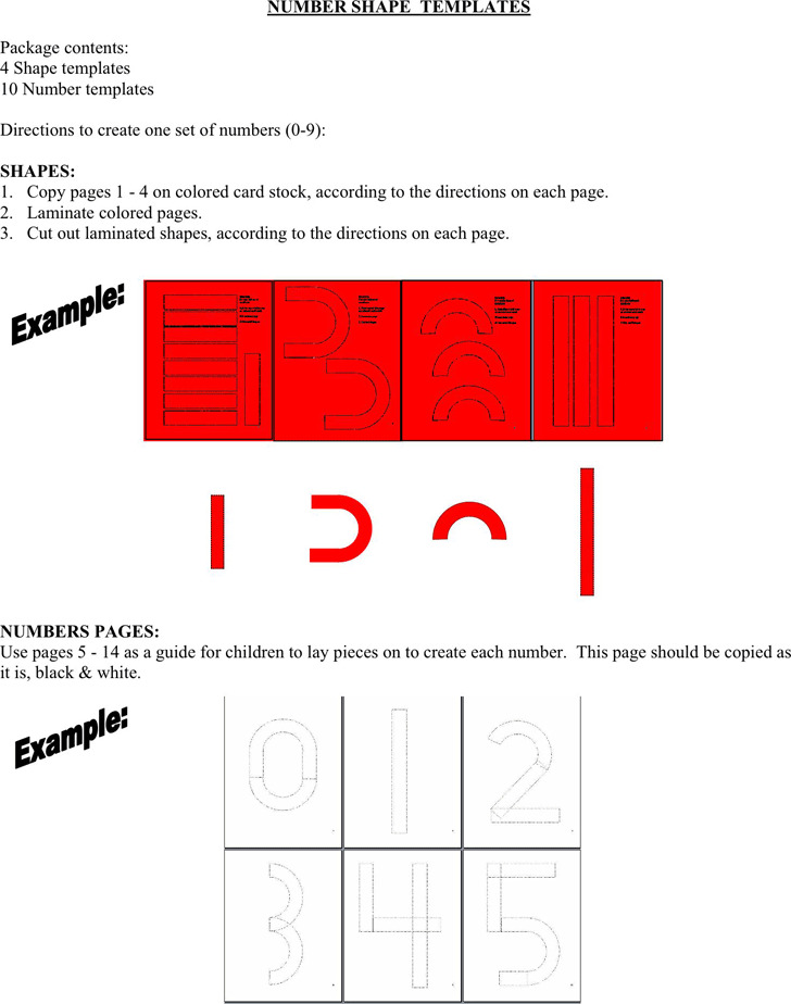 Number Shape Templates