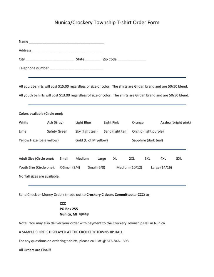 Nunica Crockery Township T-shirt Order Form Free Printable