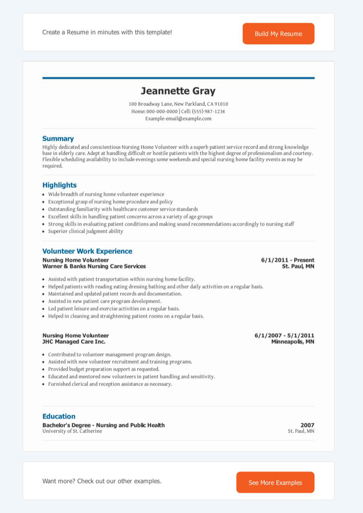 Nursing Home Volunteer Resume
