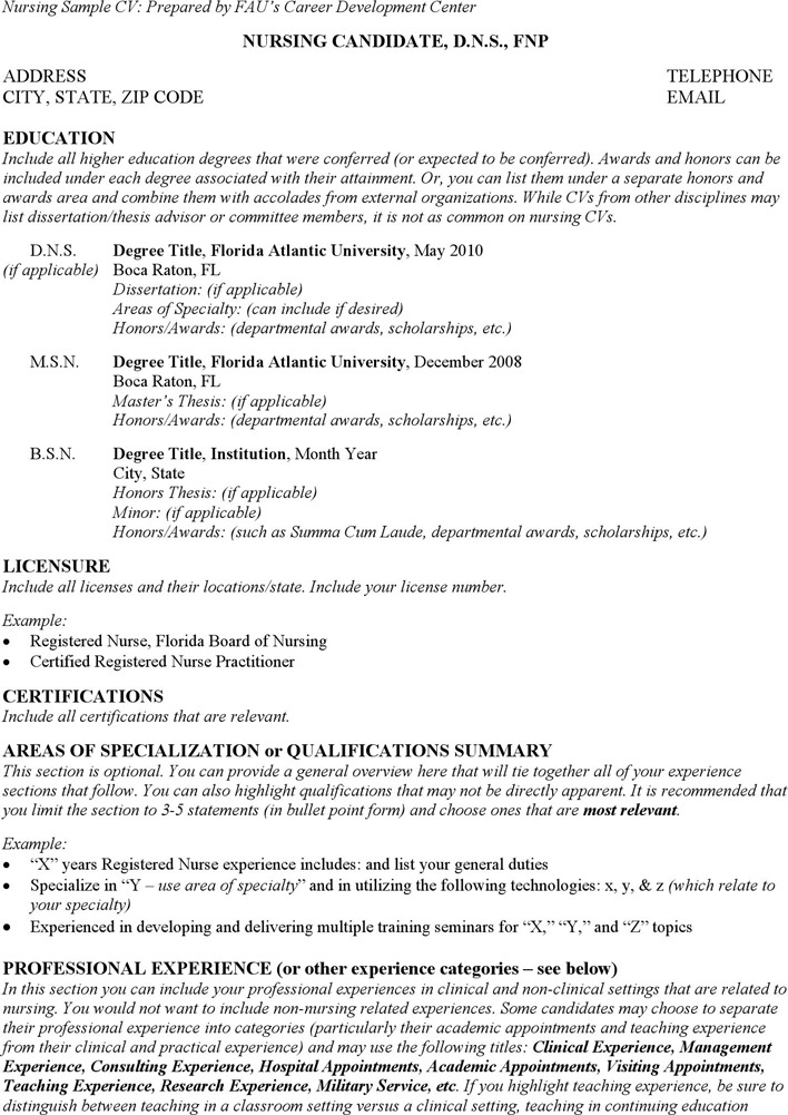 Nursing Sample CV
