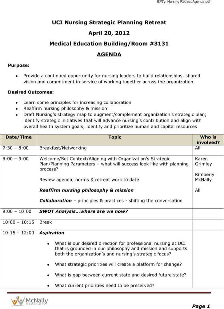 Nursing Strategic Planning Retreat Agenda