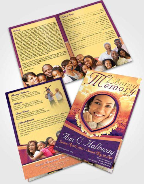 Obituary Funeral Program Full Page Bi-Fold Template