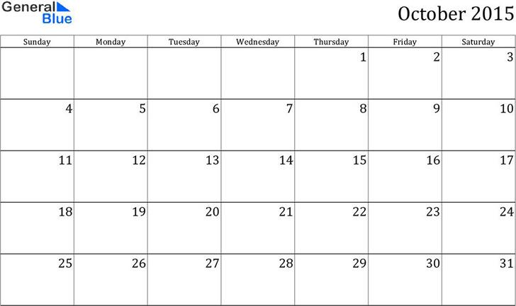 October 2015 Calendar 2