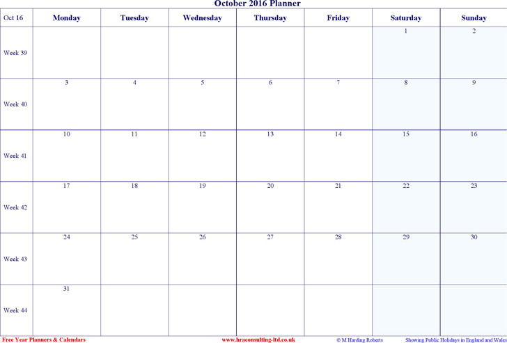 October 2016 Calendar 1
