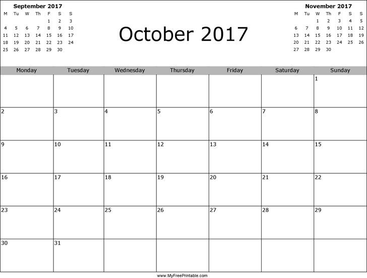 October 2017 Calendar 2