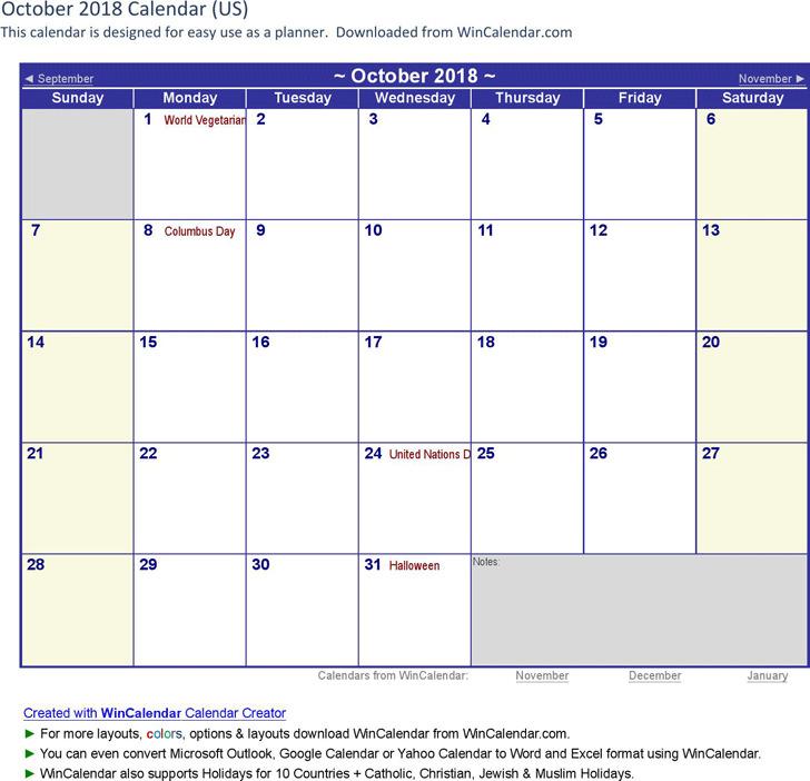 October 2018 Calendar 1
