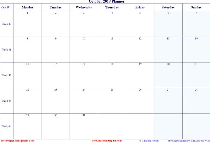 October 2018 Calendar 2