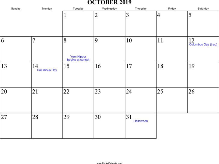 October 2019 Calendar 1