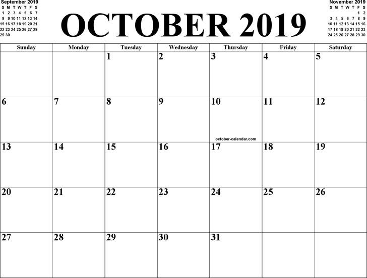 October 2019 Calendar 2