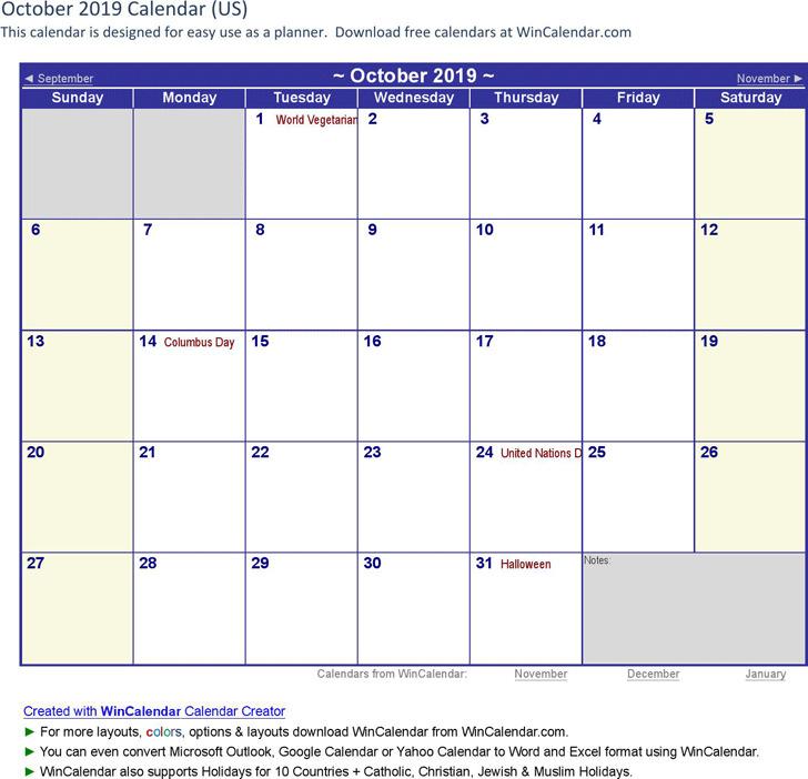 October 2019 Calendar 3