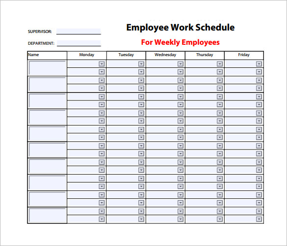 Office of Human Resources Employee Work Schedule PDF Download