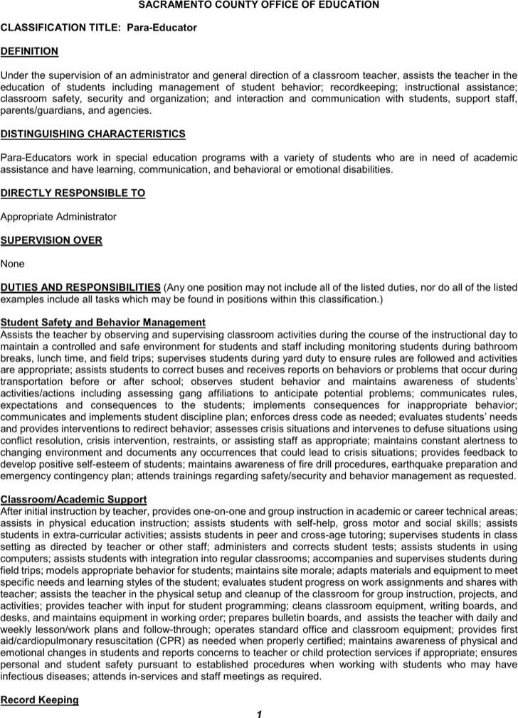 Office Para Educator Resume