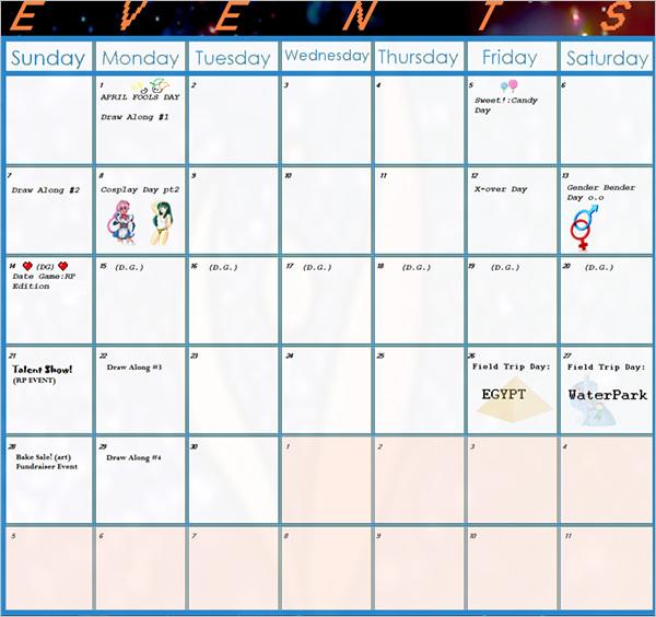 Official Event Calendar Template