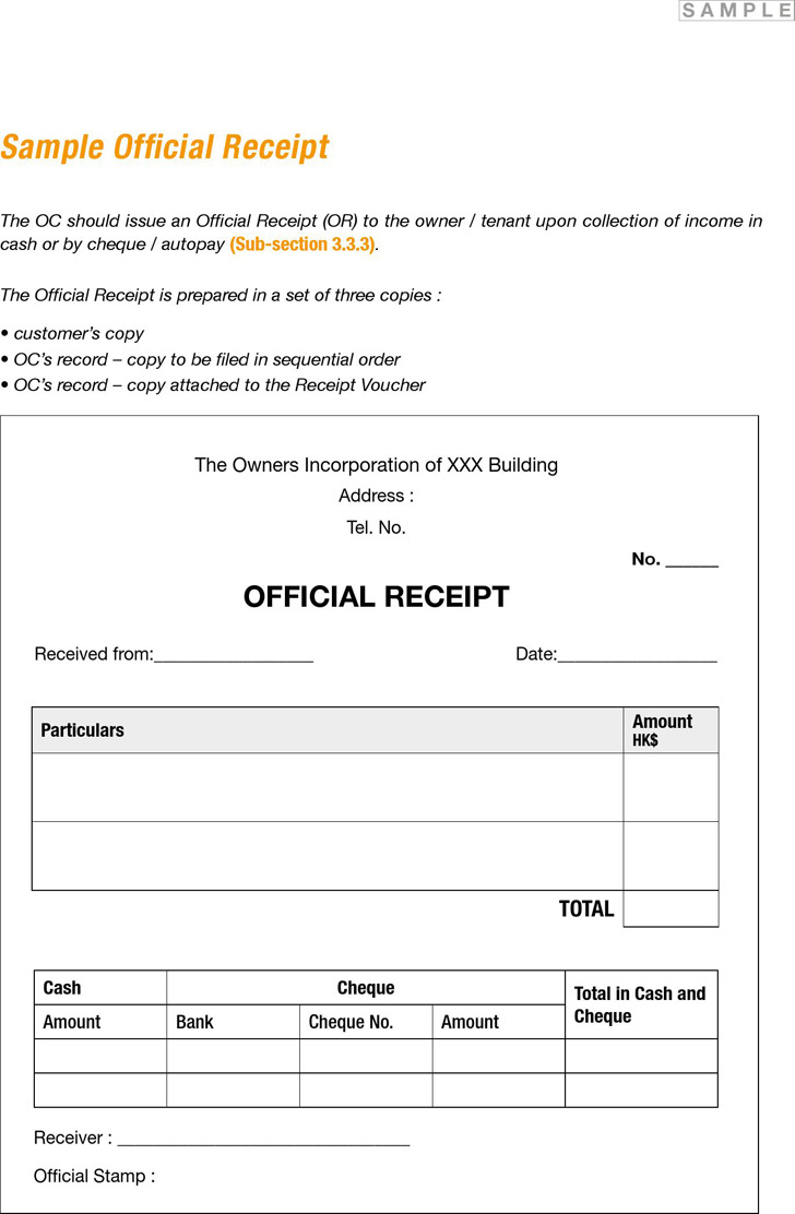 Official Receipt Form